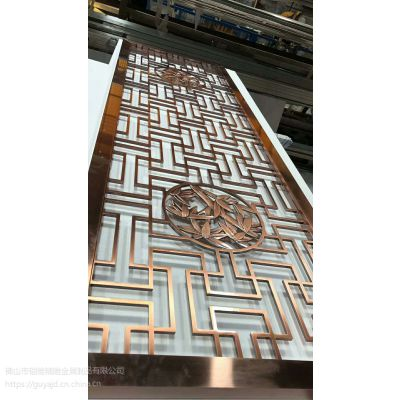 古色古香黄古铜铝板雕刻中式花格屏风