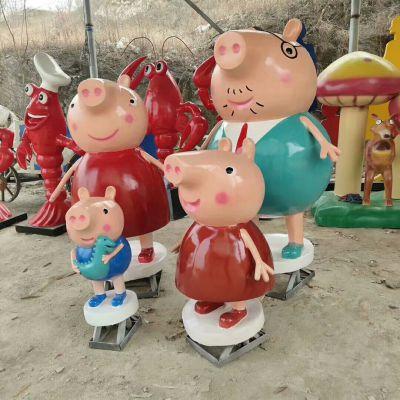 小猪佩奇卡通玻璃钢雕塑幼儿园游乐场景区户外商场摆件