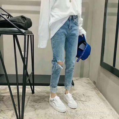 广东增城新塘***女士牛仔长裤批发 工厂清仓甩卖便宜牛仔尾货批发低至几元一条