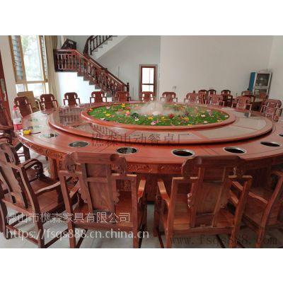定制生产电动雕花桌 酒店餐桌椅 电动大圆桌 实木桌椅