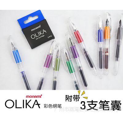 慕娜美OLIKA 创意透明彩色钢笔 手帐日记小钢笔彩色替换墨囊10色