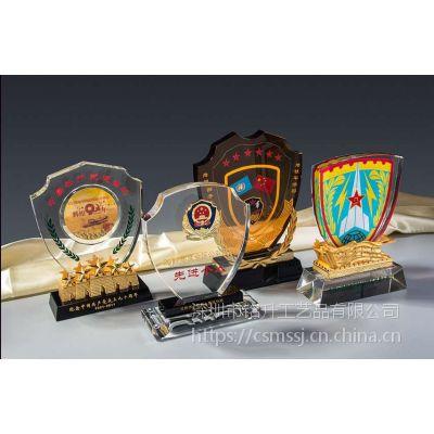 水晶盾牌水晶牌定制,退伍纪念品,优秀武警评优奖杯定制
