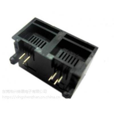 供应兴伸展电子双口RJ11 6P4C/6P6C母座/RJ45连接器网络插座/网络接口母座陕西网口插座