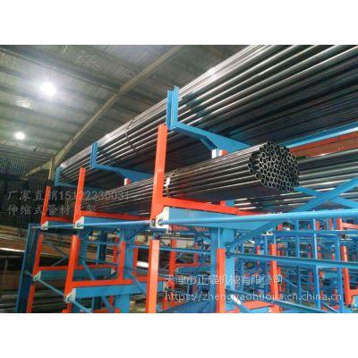 福建伸缩悬臂货架案例 整捆管材直接上架 行车使用货架