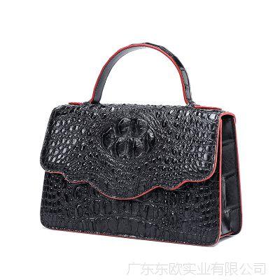 2018爆款花边女式拉链鳄鱼皮真皮女包女士时尚手提包包 一件代发