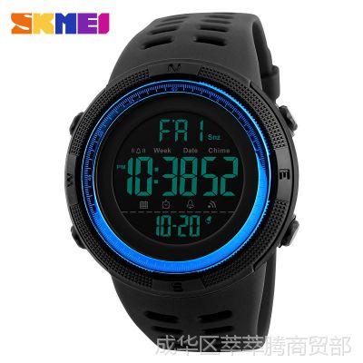 男士户外运动手表数字式防水夜光LED电子表多功能学生腕表