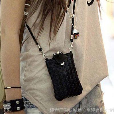 女包批发3元至15元韩版风范小方包编织PU皮手机包斜跨小包包