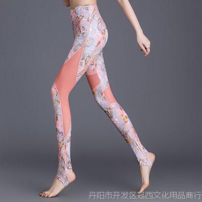 健身裤女紧身显瘦提臀拼纱透气跑步运动裤高腰弹力速干瑜伽服女夏