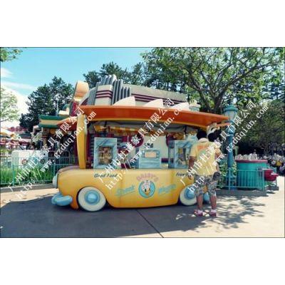 春节圣诞防腐木雪糕车冰淇淋售货车商场手推移动小卖车冷饮促销车