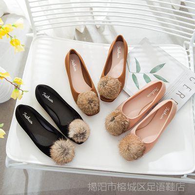 新款浅口方头绒面毛球女单鞋平底秋季女鞋舒适百搭兔毛毛球女鞋