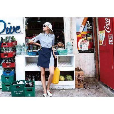 李爱木子广州大气女装品牌库存女装走份批发市场进货渠道 条纹欧格淑女学院风中长款连衣裙高性价比