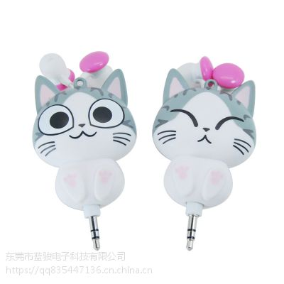 卡通伸缩耳机 起司猫熊猫入耳式有线耳机 工厂直销 质量保证