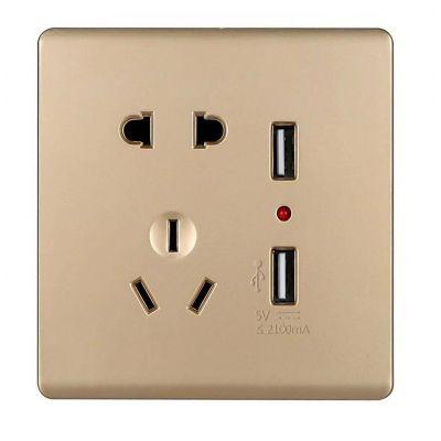 金西蒙开关插座厂家长期生产销售五孔USB充电插座