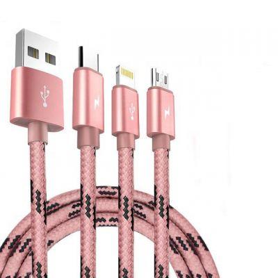 OEM手机数据线安卓苹果通用型一拖三数据线Type-C尼龙编织USB