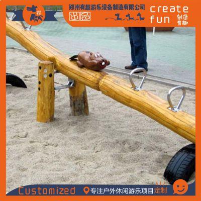 厂家定制景区营地创意跷跷板 幼儿园公园木质跷跷板 吊绳跷跷板