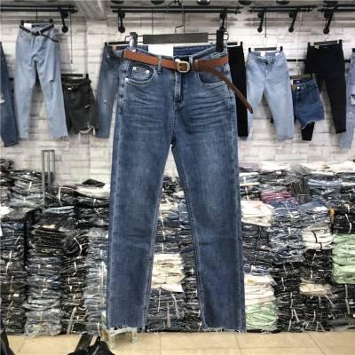 便宜女装牛仔裤加绒弹力小脚裤长裤杂款女装裤子清货5元以下