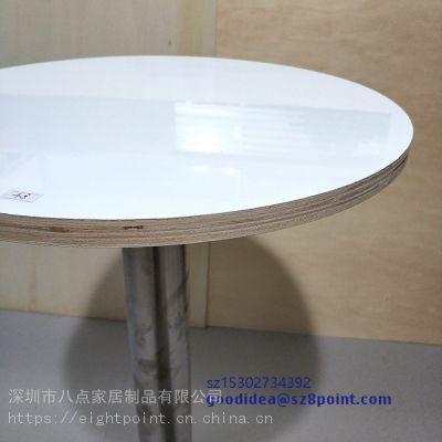 热转印咖啡厅餐厅定制 餐桌 木质MDF桌子 圆形带不锈钢桌腿