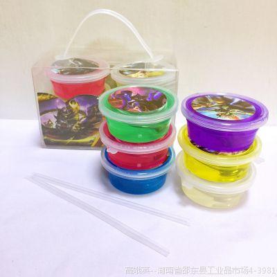 新款6色5D盒装碗装水晶泥粘土彩泥DIY无毒果冻泥可吹泡泡水晶泥