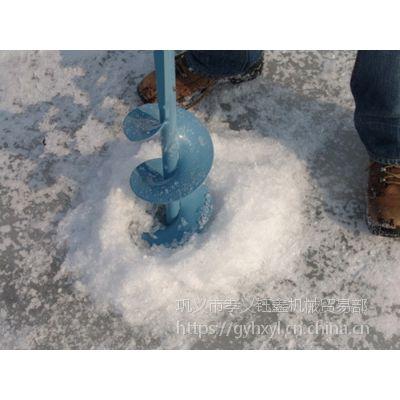 渔民冬季捕鱼用的汽油机钻冰机冰上作业的好帮手