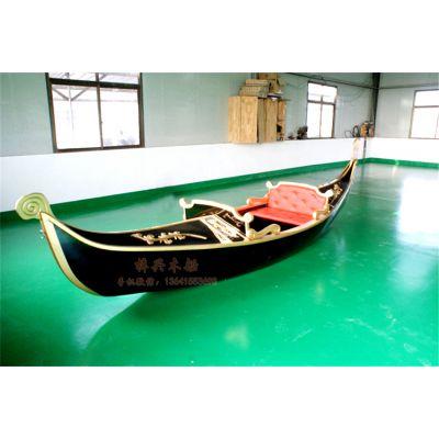 5.7m贡多拉手划船 欧式木船 贡多拉景观船 观光旅游船 广场道具船
