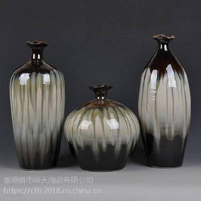 景德镇简约花瓶 电视酒柜插花摆件 装饰陶瓷花瓶三件套