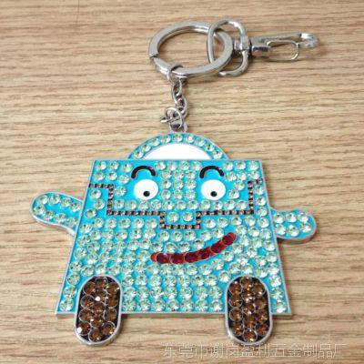 镶钻动漫卡通蝴蝶钥匙扣 创意钥匙扣挂件 金属合金钥匙扣 促销品