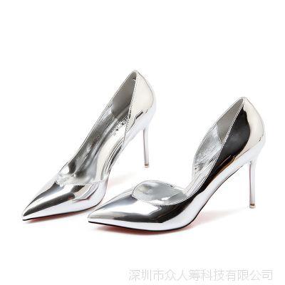 高跟鞋女细跟尖头单鞋新款欧美夜店女鞋银色镂空亚马逊爆款高跟鞋
