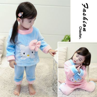 新款网店代理女童冬季儿童法兰绒睡衣 一件待发长袖卡通儿童浴袍
