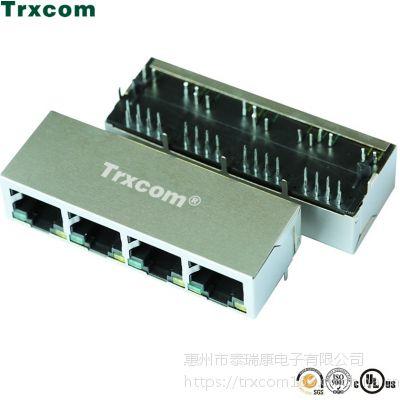 泰瑞康厂家供应双层四口RJ45网络插座 /网络连接器网口