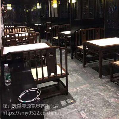现代中式实木乡村做旧餐厅吃饭桌子长方形餐桌椅组合