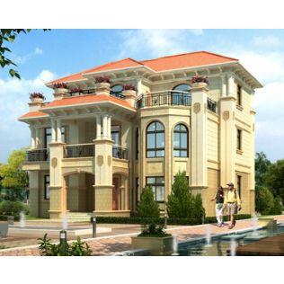 鹰潭别墅设计AT1817三层带屋顶花园复式常德私人豪华别墅设计图纸14.2mX12.7m