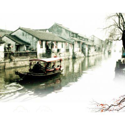 江南水乡摇橹船 乌镇手划船 景区木质游船