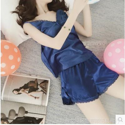 睡衣女夏季两件可爱丝绸吊带披肩性感套装家居服春