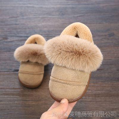 幸福玛丽冬季新款灯芯绒防滑儿童棉拖鞋包跟居家中小童毛毛棉鞋批