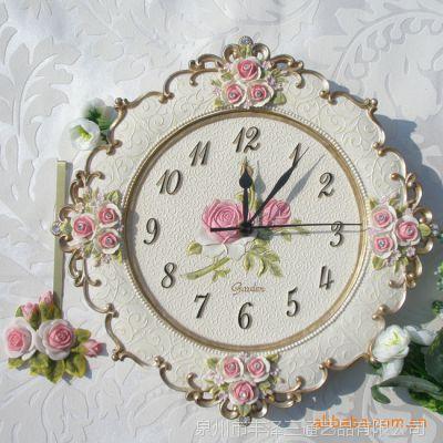 韩版时尚金边蕾丝静音复古钟表时钟创意礼品卧室客厅静音挂钟批发
