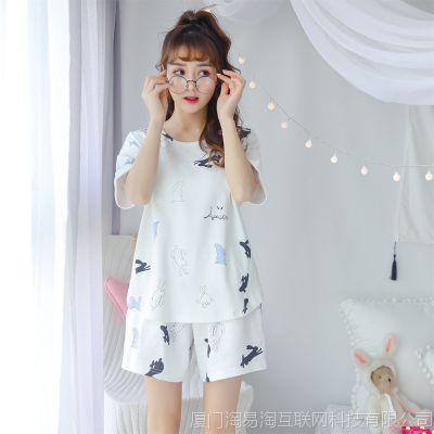 睡衣女夏季短袖两件套装可外穿宽松纯棉可爱甜美学生韩版家居服