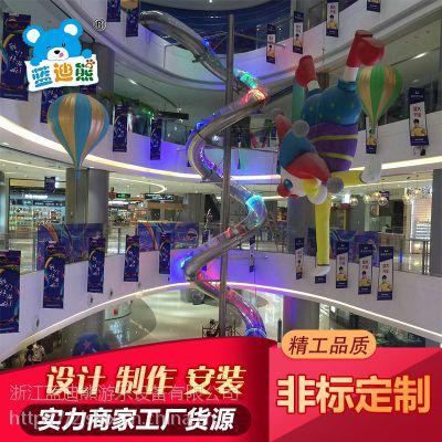 深圳天虹商场大型不锈钢滑梯 消防不锈钢逃生通道 儿童室内滑滑梯