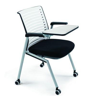 翻板写字板会议椅简约滑轮培训椅折叠办公椅录音室用椅桌椅一体椅