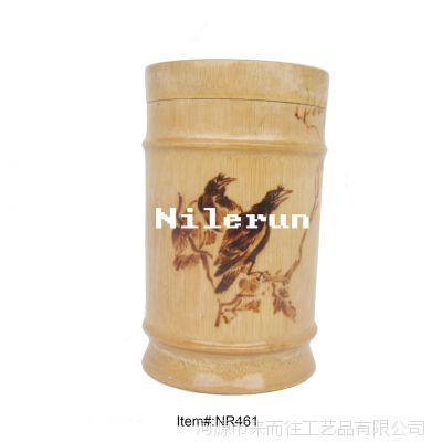 火烙图案竹子茶叶筒茶叶罐