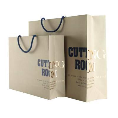 定做服装品牌购物袋 烫金UV衣服礼品纸袋 手提方底纸袋