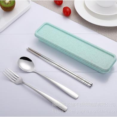 304不锈钢筷子勺子/便携餐具三件套/揭阳名瑞餐具厂批发