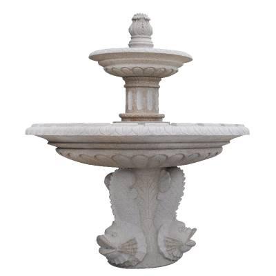 供应天然石材喷泉雕塑 简约双层石雕流水钵 公园园林水景摆件