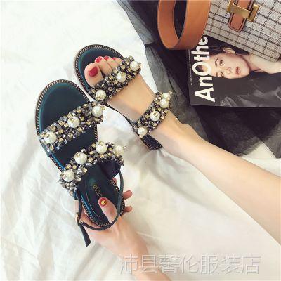 2018新款韩版百搭少女平跟平底波西米亚一字扣凉鞋子女夏时尚外穿
