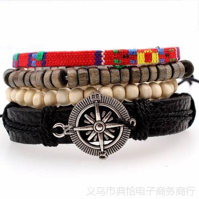 欧美朋克复古指南针手链手工编织多层皮绳皮革手镯手饰品批发
