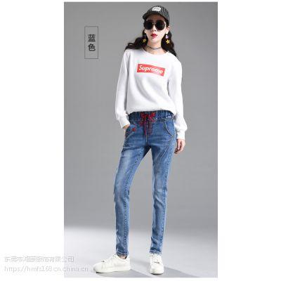2019春夏几万条女装小脚弹力牛仔裤老爹裤批发厂家一手货源自产自销欢迎联系订货
