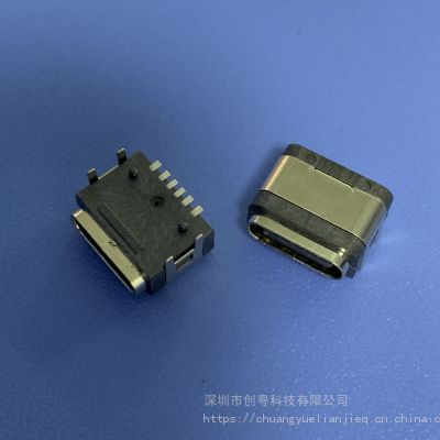 TYPE C 6P防水母座 USB 3.1 6PIN 板上四脚插板DIP+SMT防水插座 带防水胶圈