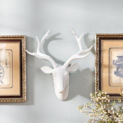 树脂家居墙面装饰壁挂白色招财鹿头壁饰