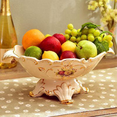 一件代发名拉 客厅摆件实用套装礼品高脚水果盆复古装饰陶瓷欧式