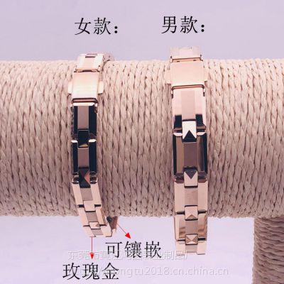 厂家供应时尚男女同款字母型手链东莞鸿图钨钢手链加工