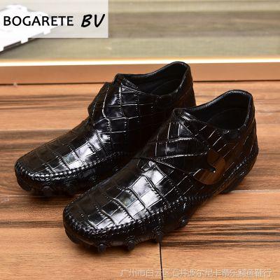 BOGARETE BV厂家批发八爪鱼真皮豆豆鞋男日常休闲鞋套脚扁头男鞋